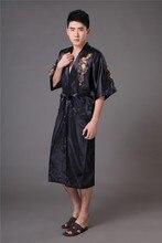 Chinese long Men's Satin Silk home Robe  Embroidery male Kimono Bath Dressing Gown Dragon nightgowns pyjamas  sleepwear