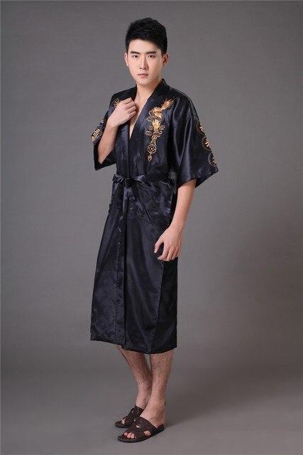 16 4 Chinois Long Hommes Satin Soie Maison Robe Broderie Homme Kimono Bain Robe De Chambre Dragon Chemises De Nuit Pyjamas Vêtements De Nuit Dans