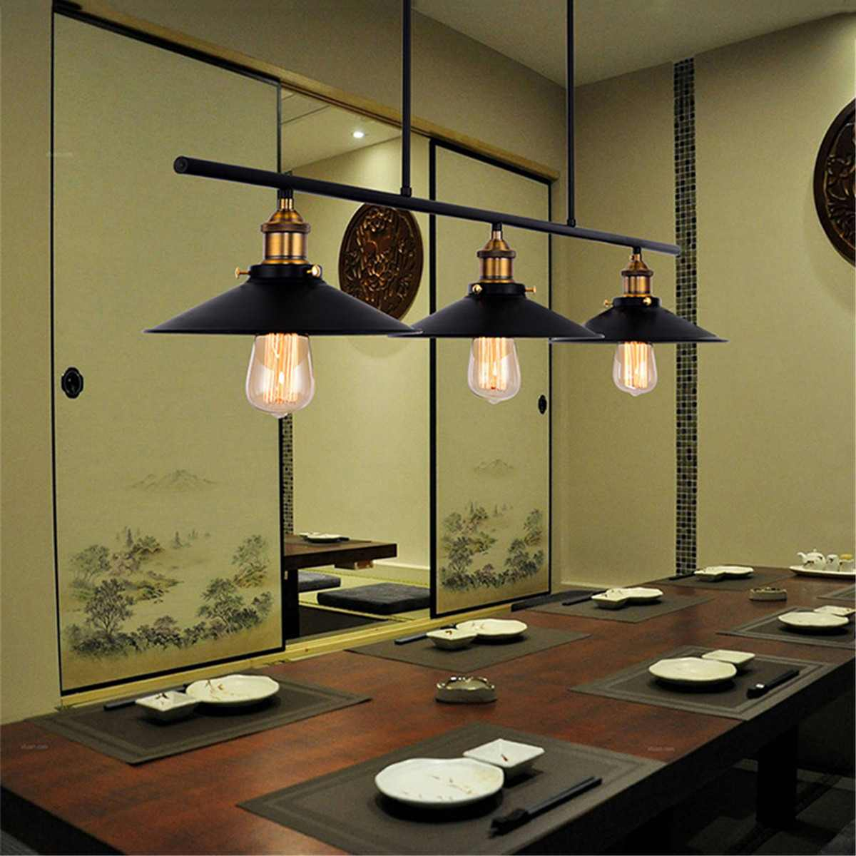 Loft Retro DIY Industrial Iron Pipe Vintage Ceiling Light Pendant Lamp Bar Decor