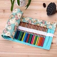 36 48 72 Holes Pencil Case School Canvas Roll Pouch Makeup Comestic Brush Pen Storage Pecncil