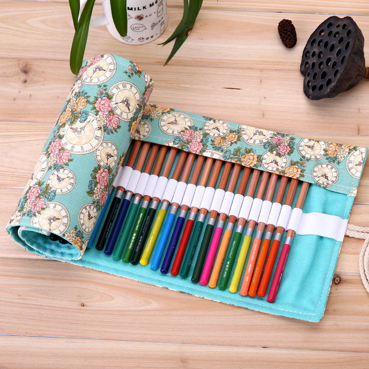 36/48/72 Holes Pencil Case School Canvas Roll Pouch Makeup Comestic Brush Pen Storage pecncil box Estuches School penalty kicute sketch floral flower canvas roll up pencil case 36 48 72 hole large capacity pen brush holder storage pouch school supply