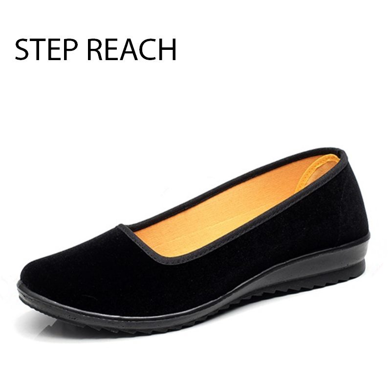 STEPREACH Brand shoes woman women zapatos mujer Casual canvas Round Toe comfortable slip-on Ladies sapato feminino chaussures akexiya spring fashion women shoes pointed toe slip on flat shoes woman comfortable single casual flats size 35 39 zapatos mujer