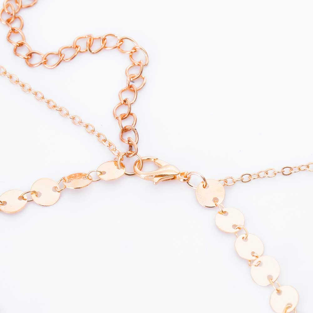 2018 Boho or argent paillettes longue gland étoile ronde cercle tour de cou collier pendentif pour femmes bijoux Double couche Chokers