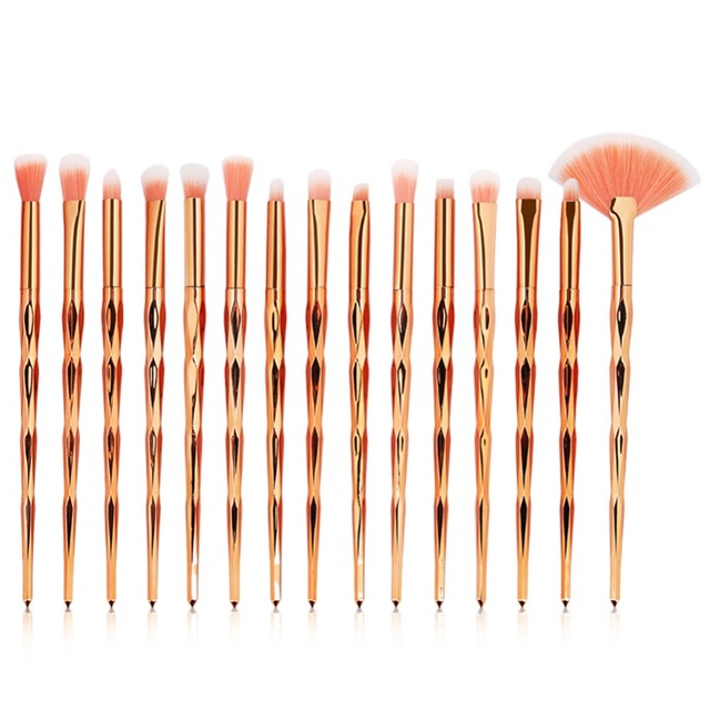 15pcs Diamond Makeup Brushes Set Eye Shadow Eyebrow Blending Powder Lip Concealer Fan Cosmetic Beauty Brush Tool Kit #281924