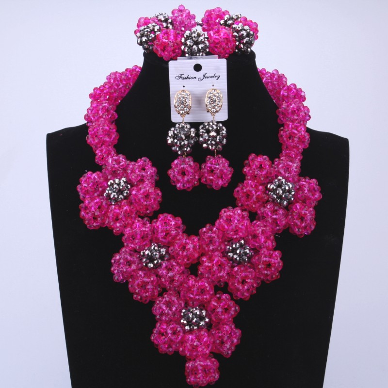 Dubai Pink Jewellery Balls Indian Rhinestone Statement Necklace and Earring Flowers African Nigerian Wedding Beads Jewelry Set