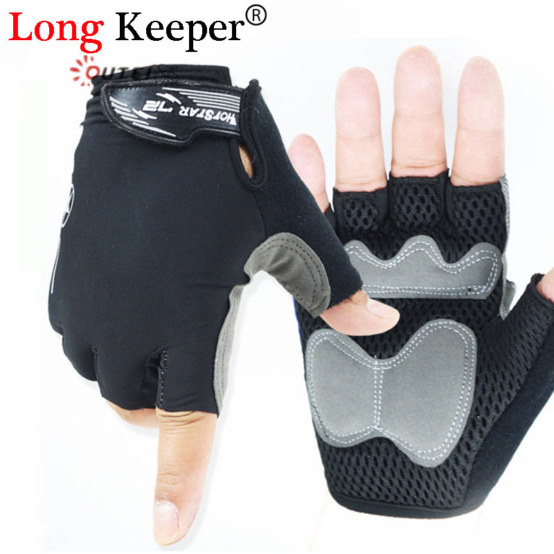 Long Keeper Fitness Gloves Fingerless Gloves for Men Women Work Out Sponge Palm Pads Protection Luvas