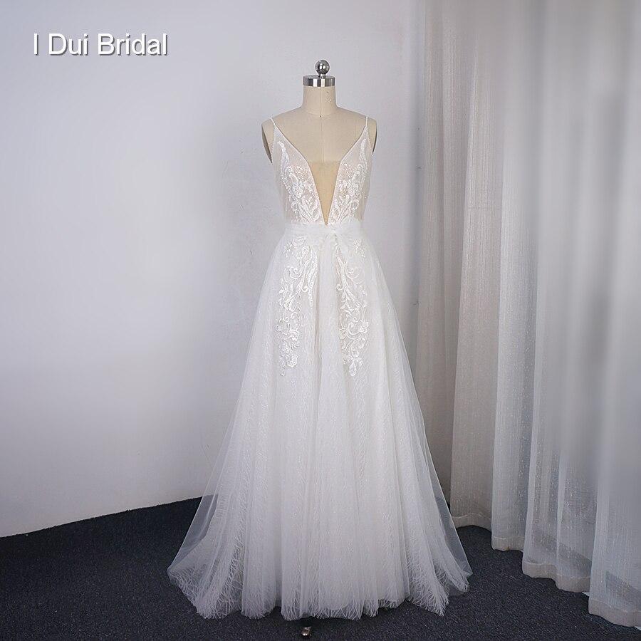 Boho Light Wedding Dress Shinny Sparkle Tulle Beach Bridal Gown New Style