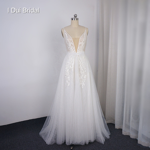 Image 1 - Boho ışık düğün elbisesi parlak sparkly tül plaj gelin kıyafeti yeni stil