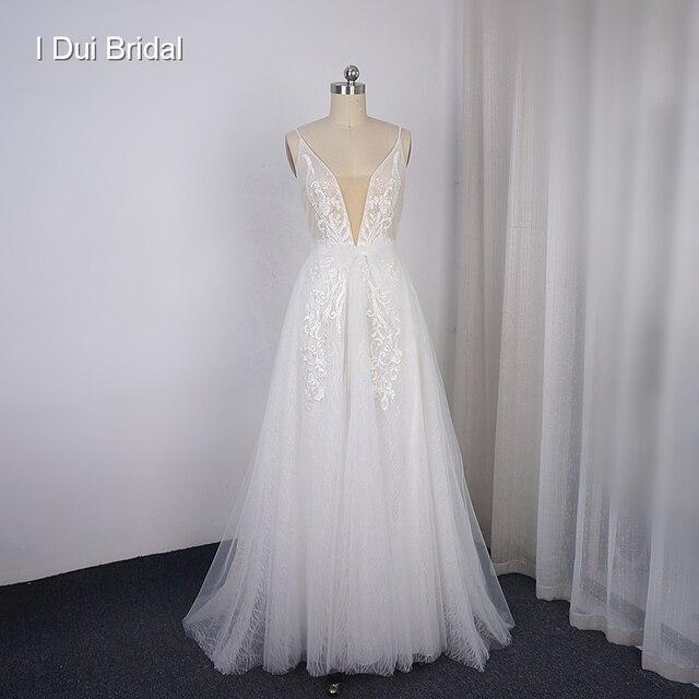 Boho ışık düğün elbisesi parlak sparkly tül plaj gelin kıyafeti yeni stil