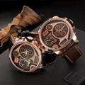 Oulm Marca de Relojes de Lujo Relojes Casual Correa de Cuero Reloj Deportivo de Doble Pantalla Digital Grande Macho Grande Del Dial Militar Reloj de Pulsera