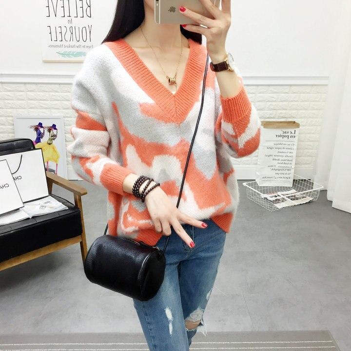 Col Tricot Nouvelle Hiver Tendance 00023 Porter Pull En De orange Camouflage rose Automne Femmes Manteau V Blazer 2018 Noir xIgOw85n0n