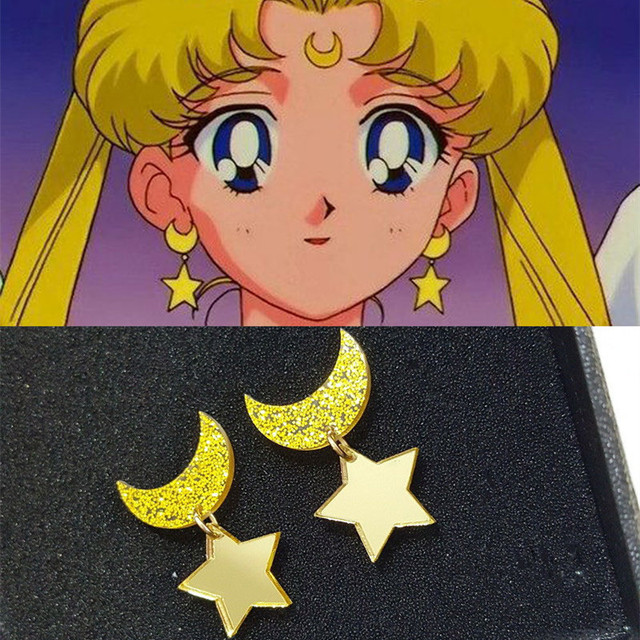 Anime Sailor Moon Jewelry Star and Moon Stud earring Golden Yellow Acrylic Moon Earring For Kids Girls Cute Sweet Accessories
