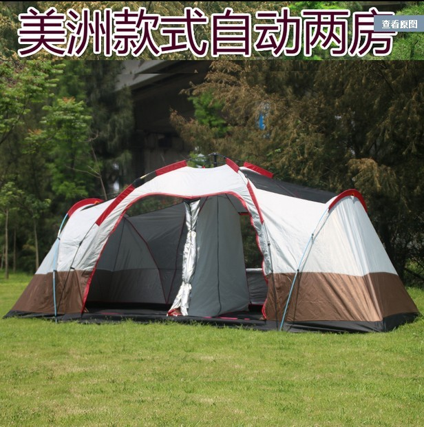 New arrival Fully automatic two hall 6-8 person double layer camping tent/against big rain large family outdoor tent 190cm high