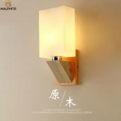 Современный стеклянный абажур Светодиодные настенные лампы в коридор ванная комната деревянный светильник светильники для дома