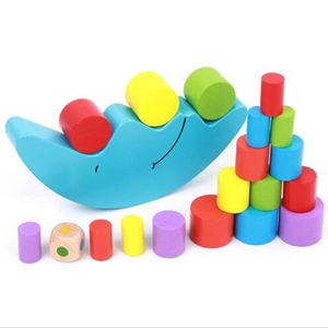 Image 2 - Moon Balance Game Baby Early Learning Toy For Children Wooden Toys Balancing  Colorful Blocks Baby Educational Toys