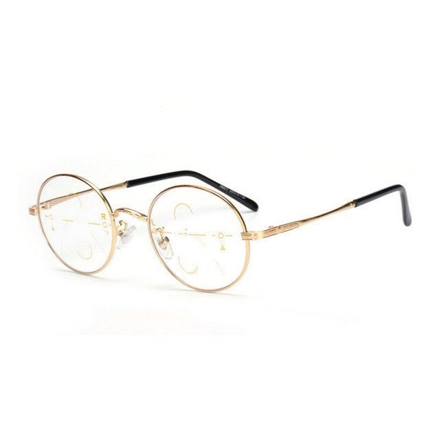 39e72e2fc35 MINCL Fashion Retro Round Progressive Multifocal Reading Glasses Vintge  Adjustable Vision Eyewear Vintage Metal Frame -gyw