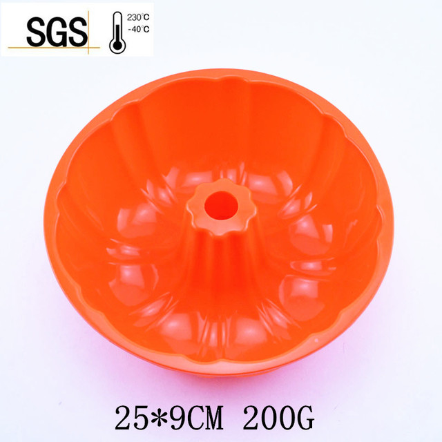 25*9CM 200G 2016 Hot Sell Big and Beautiful Pumpkin Shape Silicone Cake Mold Baking and Pastry Bakeware Maker Mold Tray Baking