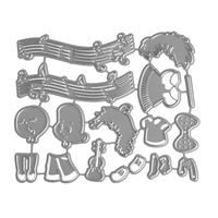 Kids Playing Music Cutting Dies Metal Template Mould DIY Embossing Stencil For Album Scrapbooking Paper Card Art Craft Decor