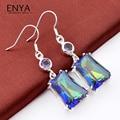 ENYA New Fashion Wedding Jewelry Rainbow Fire Mystic Synthetic Topaz Amethyst Silver Plated Drop Earring E0061