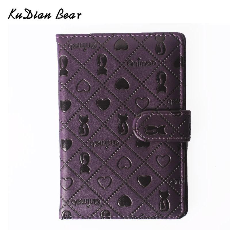KUDIAN BEAR PU Leather Passport Cover Cute Persian Cat Pattern Travel Ticket Pouch Fashion Brand Passport Holder --01BIY015 PM49