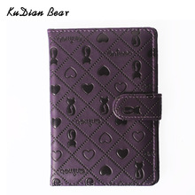 KUDIAN BEAR PU Leather Passport Cover Cute Persian Cat Pattern Travel Ticket Pouch Fashion Brand Passport Holder --01BIY015 PM49