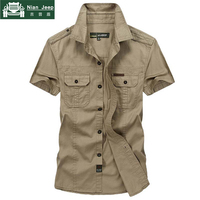 Brand Denim Shirt Men Camisa Masculina Plus Size 5XL Shirt hombre Summer Short Sleeve Pure Cotton Military Casual Mens Shirts