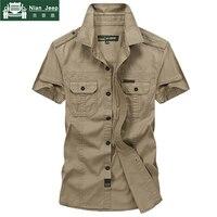Brand Denim Shirt Men Camisa Masculina Plus Size 5XL Shirt hombre Summer Short Sleeve Pure Cotton Military Casual Mens Shirts