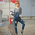 Female denim jumpsuit womens jumpsuit long denim jumpsuit women 2016 new arrivals women jeans ripped pants  AA1110