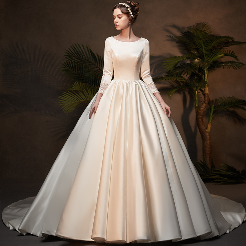 2019 Ball Gown 3/4 Sleeves Satin Modest Wedding Dresses With Sleeves Lace Appliques Vintage LDS Bridal Gowns Custom Made