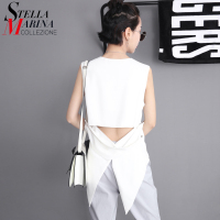 2016 New Women Korea Fashion Tops Tees Sleeveless V Neck Back Hollow Forked Tail Black White