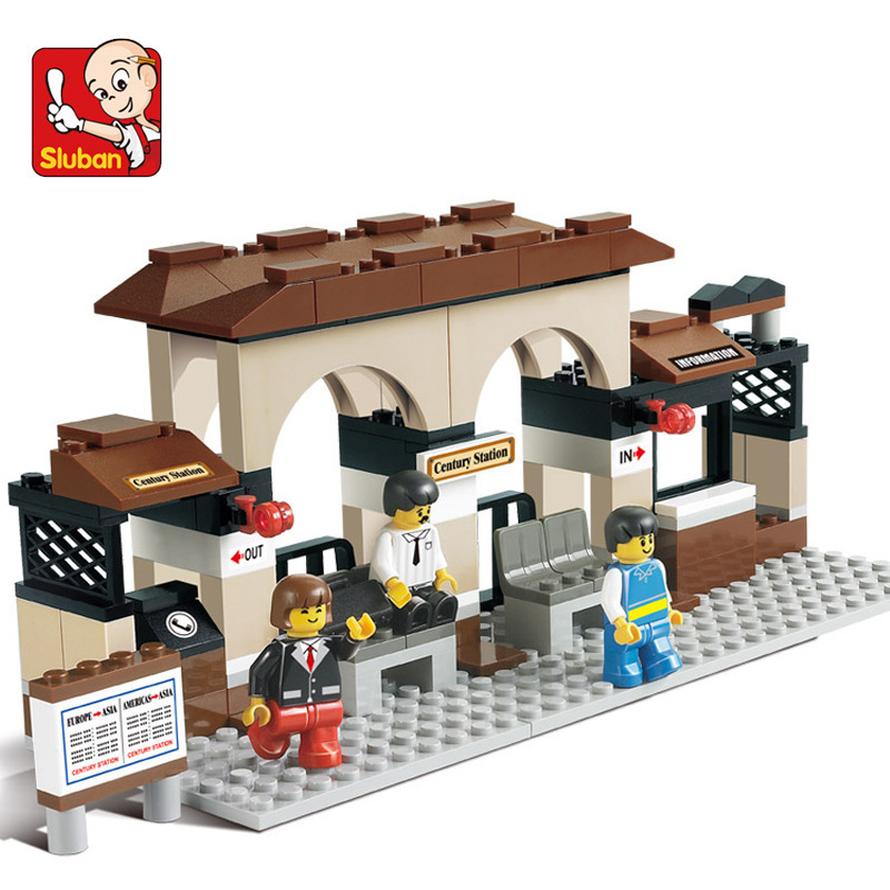 Sluban Model building kits compatible with lego train station 3D blocks Educational toys hobbies for children sluban 2500 block vehicle maintenance repair station 414pcs diy educational building toys for children compatible legoe