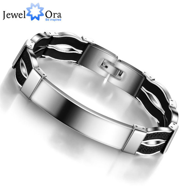 Fashion Casual 304L Stainless Steel  Bracelet  For Men Silicone Bracelets & Bangles Gift for Boyfriend(JewelOra BA101126)