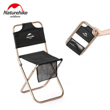 цена на Naturehike Outdoor Portable Folding Chair Beach Camping Picnic Wear-resistant Aluminum Leisure Chair Back Fishing Chairs Stool