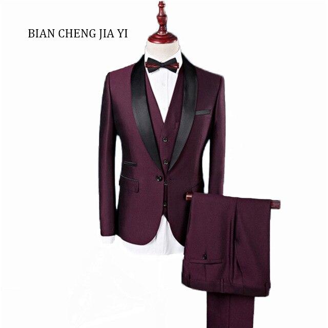 Erkek Kıyafeti'ten T. Elbise'de Erkek Resmi Düğün 3 Parça Takım Elbise Iş Slim Fit Şal Yaka Damat Smokin Erkekler Tek Göğüslü Şarap Kırmızı Akşam Elbise blazer'da  Grup 1
