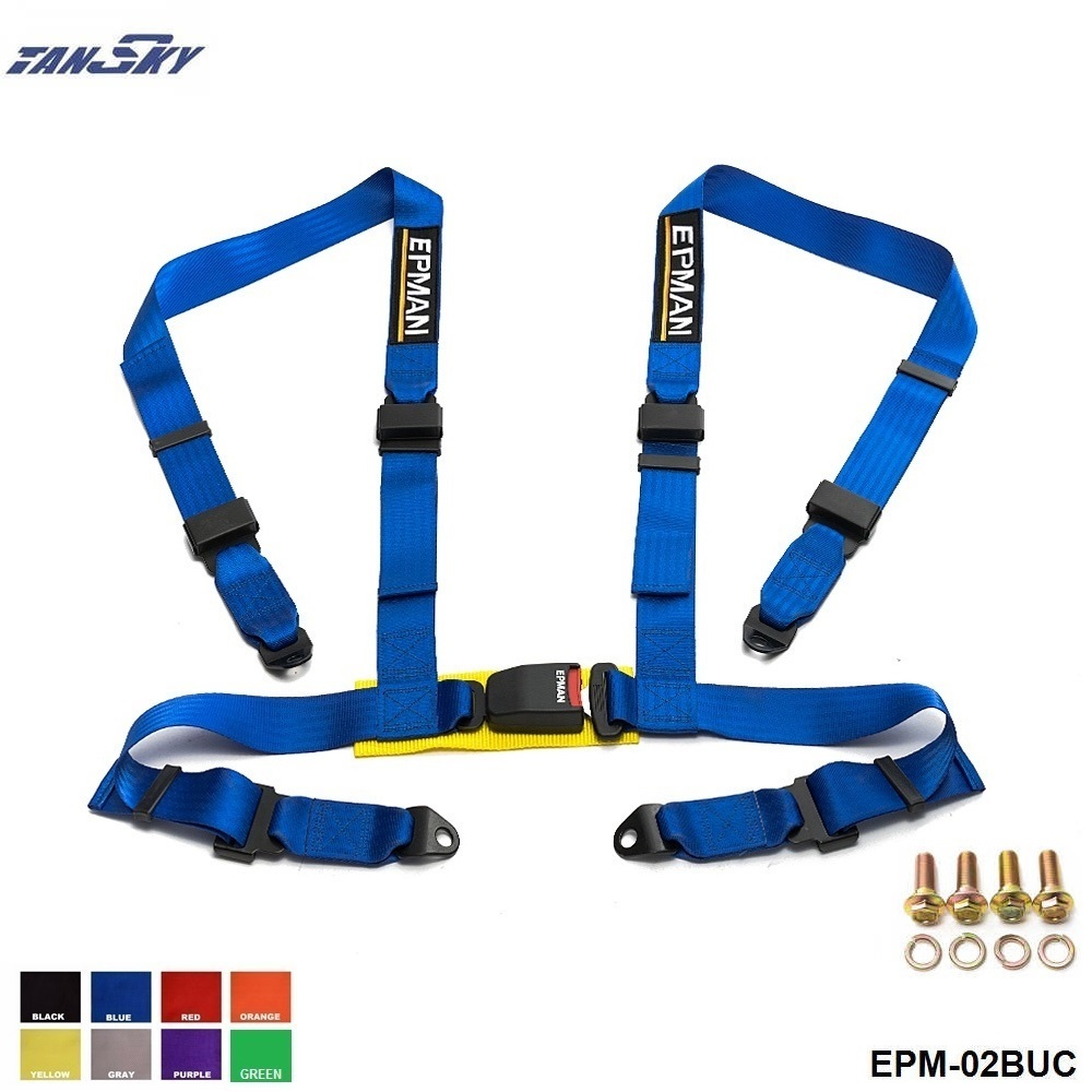Universal Harness 4 Point Sport Racing Seat Belt Black Blue Red