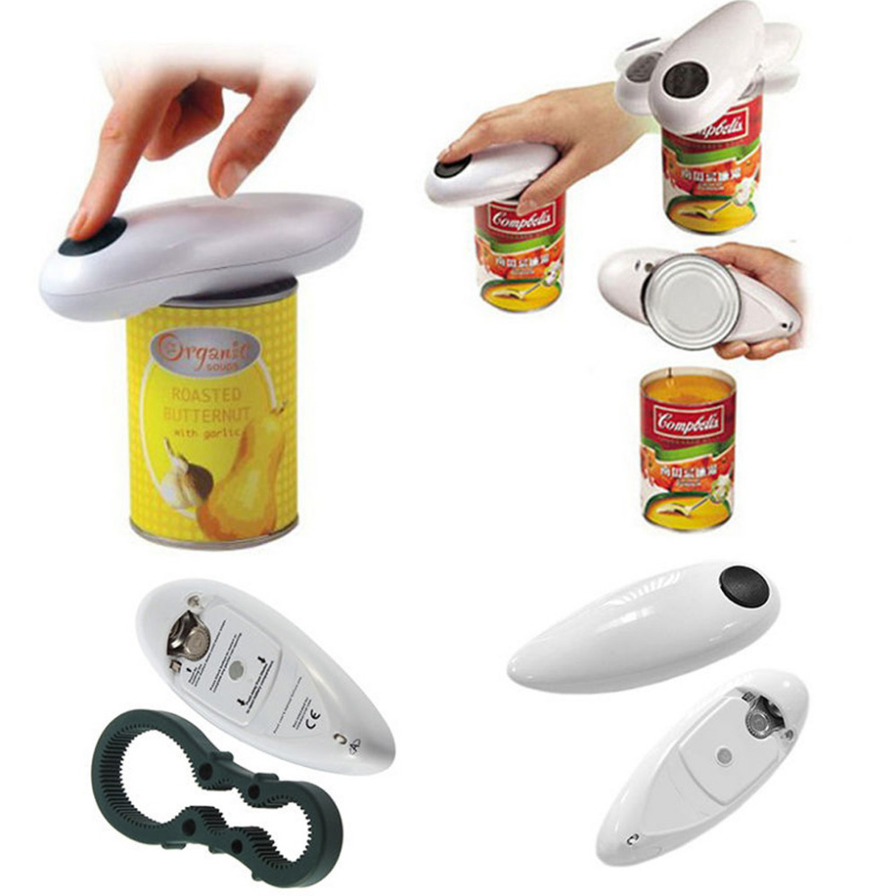 One Touch Automatic Electric Can Tin Bottle Opener &Bottle Wrench No Hands Battery Operated
