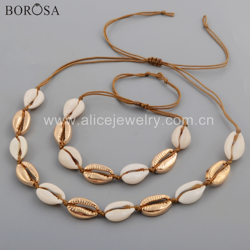 BOROSA 5Sets New Gold Color Natural Cowrie Shell Handcrafted Adjustable <font><b>Bracelet</b></font> Necklace Jewelry <font><b>Sets</b></font> for Women Girls WX1095 image