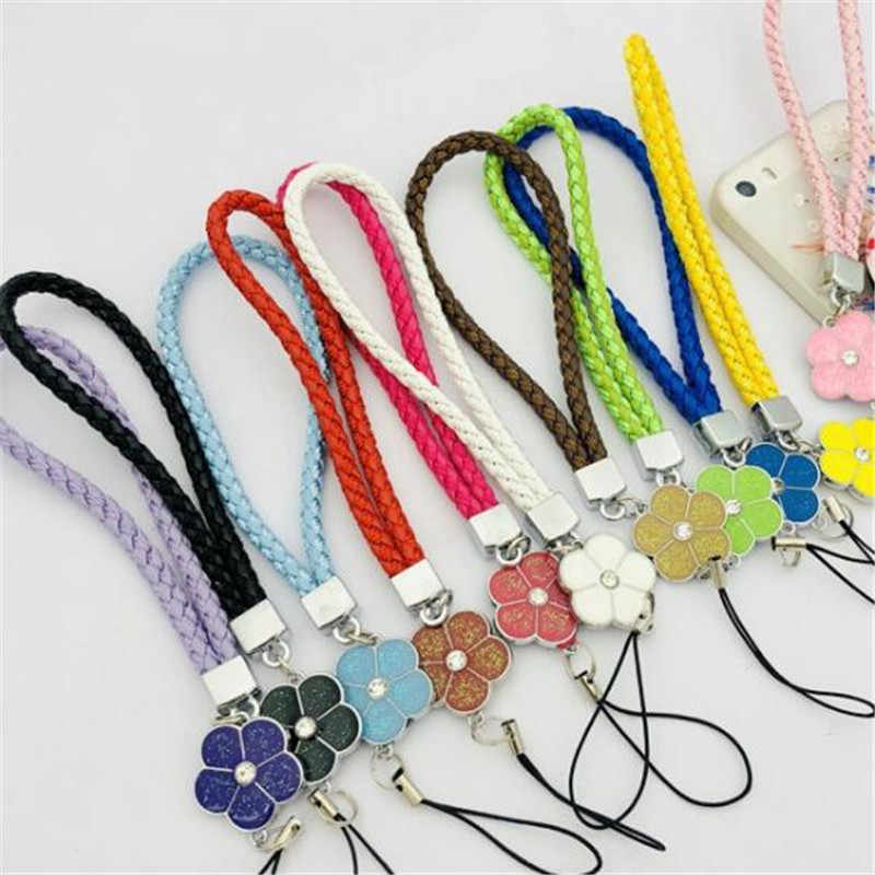 Mobile Phone Straps Rope Clover Flower Short Hand Rope Squishy For Key Lanyard Neck Lanyard Neckband anti-stress