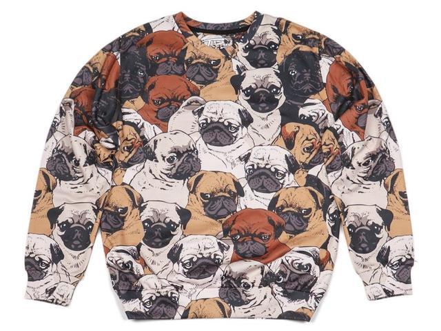 2016 Otoño Mujeres Camiseta Pullover Harajuku Lindo Invierno Fasihon Sudadera Punk Pug Perro Sudaderas Par de Sudaderas Con Capucha de Impresión Completa