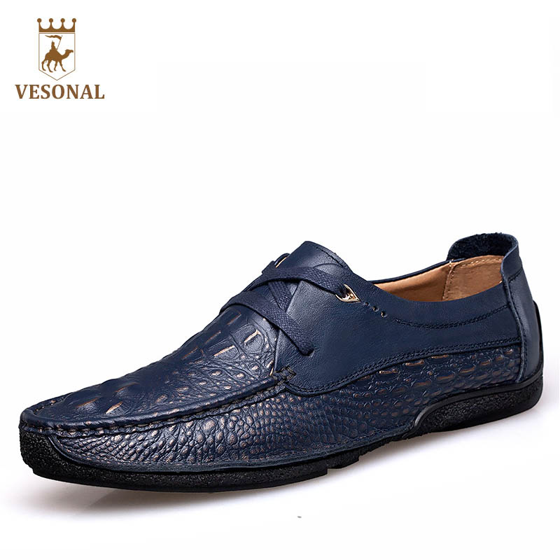 VESONAL 2017 Brand Casual Male Shoes Adult Men Crocodile Grain Genuine Leather Spring Autumn Fashion Luxury Quality Footwear Man biaoka automatical mechanical watches men luxury brand male clock leather wristwatch men skeleton casual business gold watch