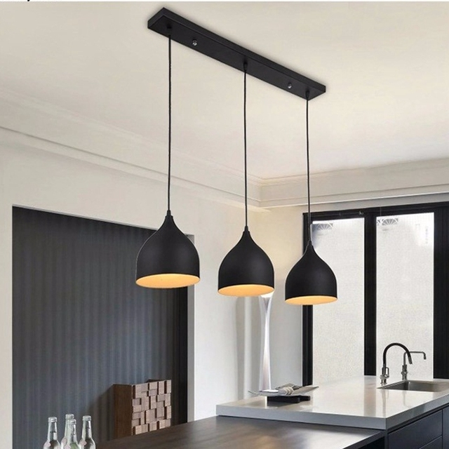 LukLoy lámpara de techo moderna luces colgantes Metal LED para el hogar  restaurante Comedor Cocina isla decoración accesorios iluminación