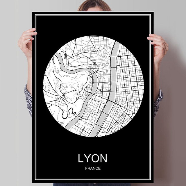 Abstract World City Map Lyon France Print Poster Print On Paper Or