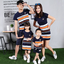 South Korea's mother and Children Summer Cotton stripe mosaic mother daughter family T-shirt
