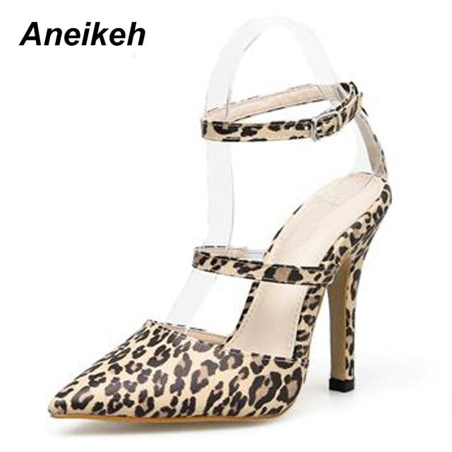 d94010a1d399 Aneikeh 2019 Summer Fashion High Heels Women s Shoes Ladies Sandals Leopard  Print Open Toe Buckle Strap Concise Thin Heels Pumps