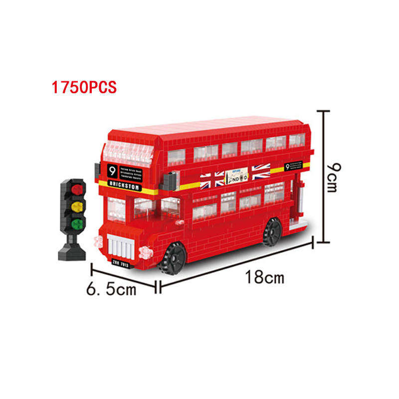 Classic creator Britain City Double decker London bus micro diamond building block mini brick 10258 nanoblock toy collection lepin 21045 united kingdom britain london double decker bus building kit blocks bricks toy for gift 10258