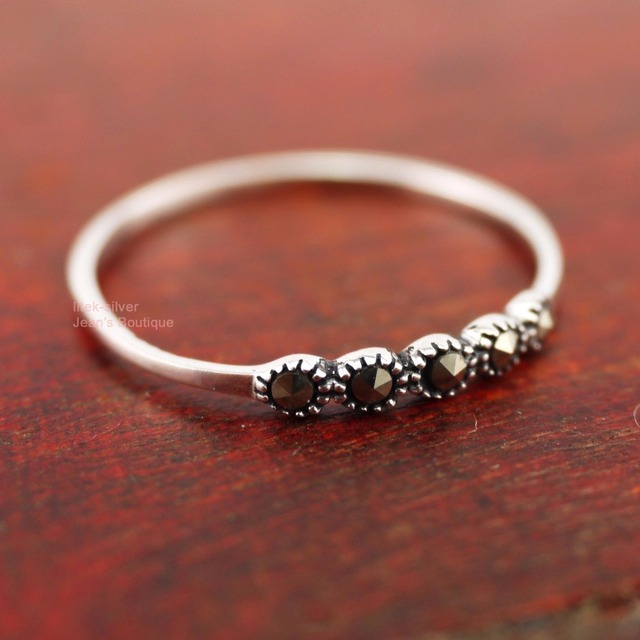 21f6ec7bc 925 Sterling Silver Retro Simple Line Marcasite Stones Small THIN 2.3mm Ring  A3154