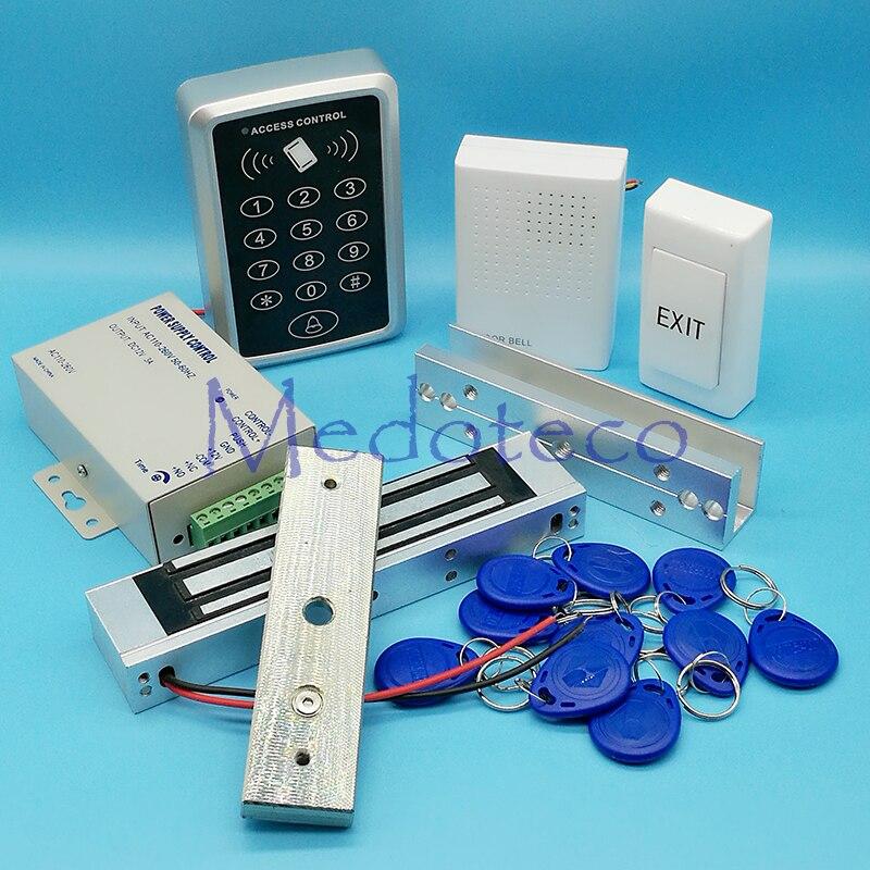 Full Rfid Door Access Control System 125Khz Rfid Card Access Control System Kit +Electric Magnetic Lock U Bracket & Power Supply