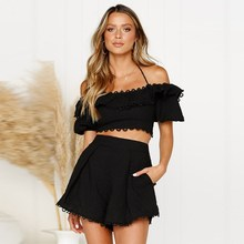 2019 Women Ruffle Crop Top Shorts Suit Solid Two Piece Set Sexy Off Shoulder Lantern Sleeve Embroidery Lace Outfits