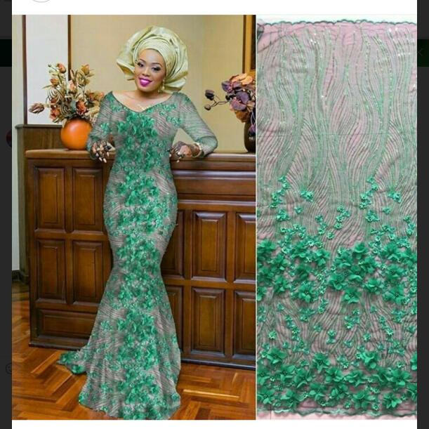 Latest French Lace 3d Flower Fabric Tulle Net Fabric 2019 High Quality African Lace Embroidery Mesh
