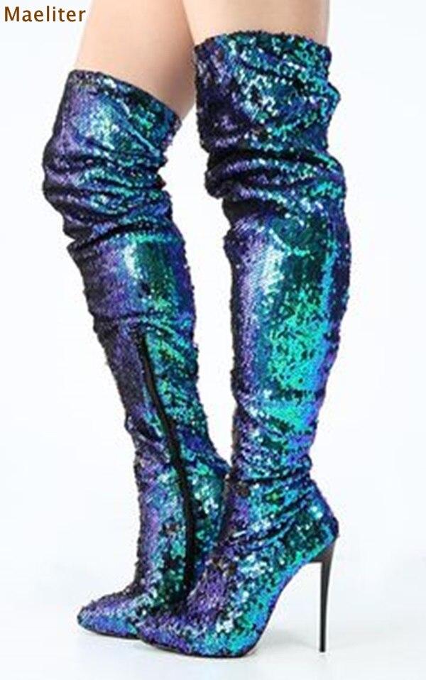 Для женщин сверкающие Павлин зеленый блесток Русалка сапоги до бедра Bling блестка платье Сапоги и ботинки для девочек Chic Ботинки закрывающие... ...